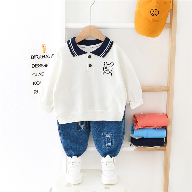 HYLKIDHUOSE 2020 Spring Baby Girls Boys Clothing Sets Cartoon Lapel T Shirt Jeans Toddler Infant Clothing Children Clothes