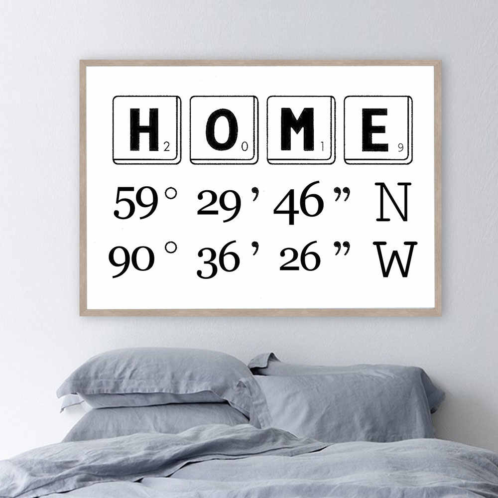 Personalized Poster Address Sig Burlap Prints Gps Coordinates Painting On The Wall For Your Home Decor Longitude Latitude Image Painting Calligraphy Aliexpress