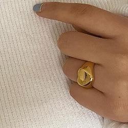 Acier inoxydable 18k plaqué or ternissement gratuit Minimal doux bijoux cadeau pour Ladie stéréoscopique or coeur amour anneaux pour les femmes