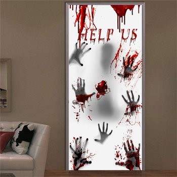 New Haunted House Bloody Eerie Wall Door Halloween Party Ghost Glass Sticker for Home Haunted House Decor Window Sticker image