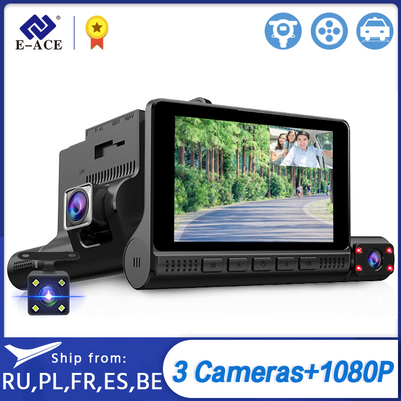 E-ACE Car DVRs 4.0 Inch Screen Dash Cam 3 Cameras Lens Portable Video Recorder With Rearview Camera Auto Registrator Dash Camera
