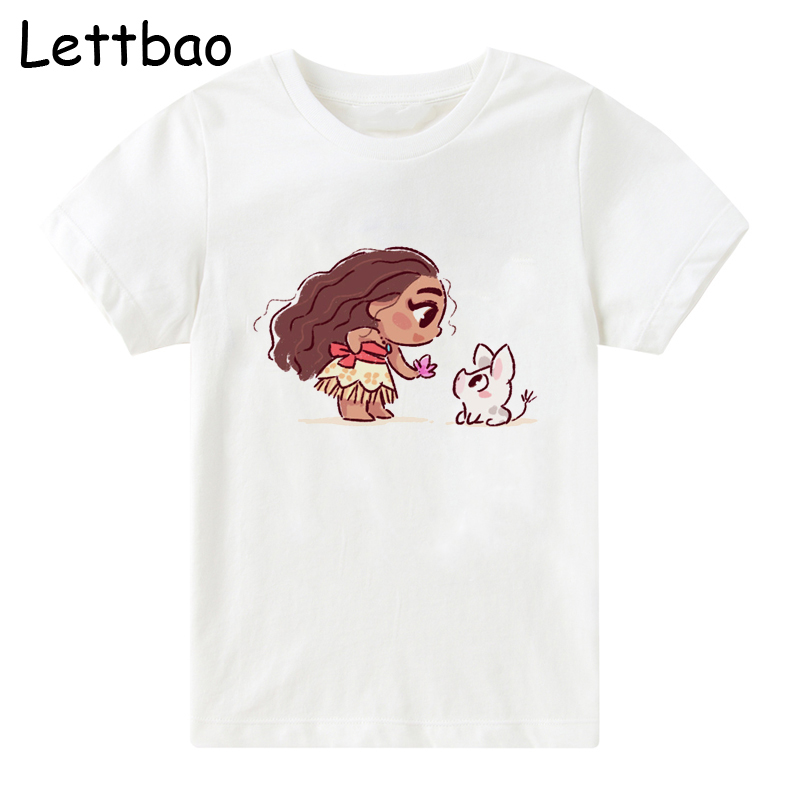 2-12T Baby Girl T-shirt Big Girls Tee Shirts For Children Moana And Elfin Prints 100%Cotton CARTOON Kids T Shirt Summer Clothes
