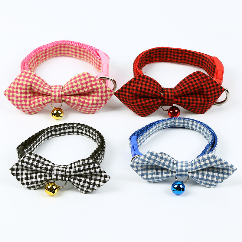 2019 New Style Pet Collar Dog Bow Plaid Collar Traction Supplies