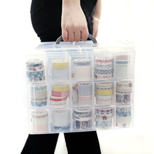 Three-layer Storage Box Transparent Storage Box For Tape Washi Tape Sticker Sundries Pens Diary Stationery