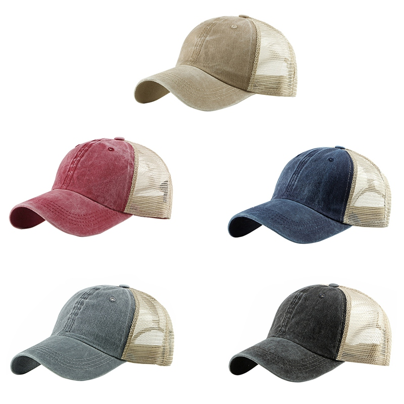 Baseball Cap Women Men Patchwork Thin Breathable Mesh Peaked Hat Headwear Outdoor Sports Wear With Adjustable Back Closure