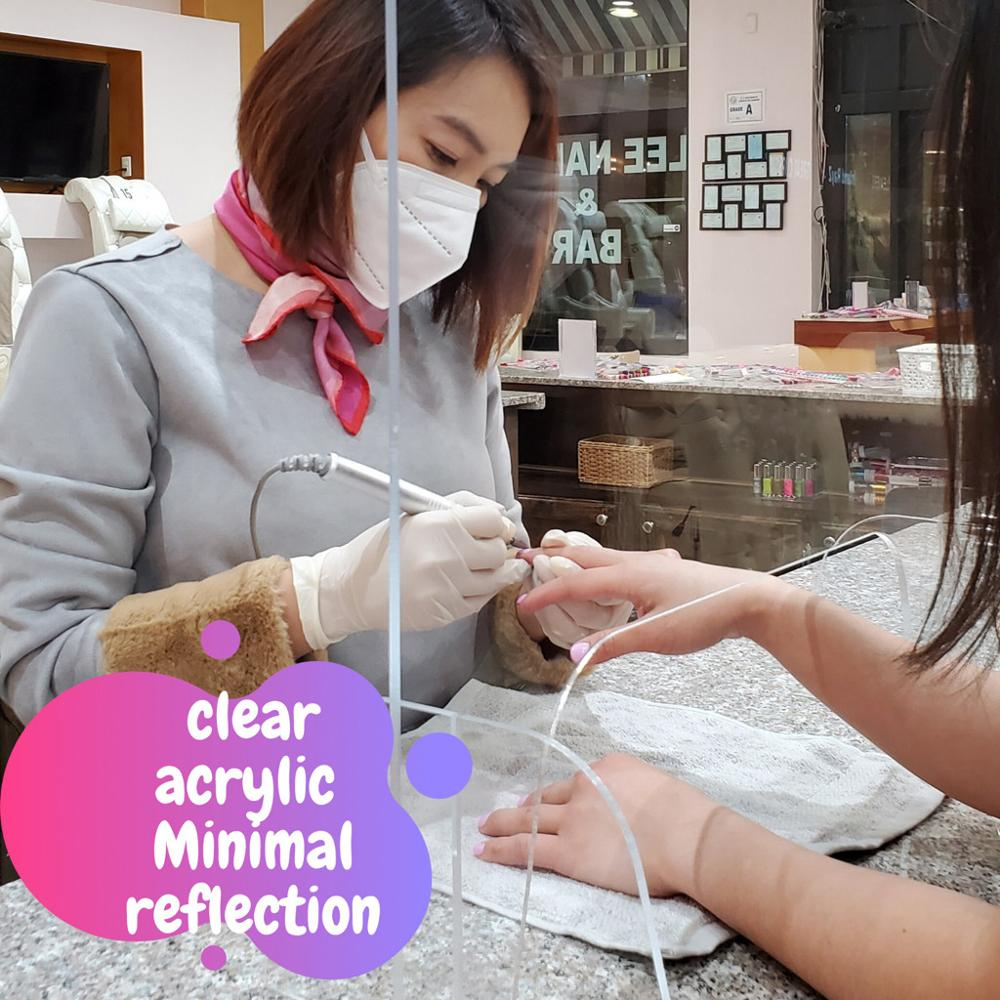 Acrylic Sneeze Guard Shield Protection Safety Counter Top for Nail Restaurant Grocery Stores Salons Retailers health manage