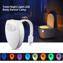 Creative Toilet Night Light LED Body Sensor Lamp Auto On/Off Waterproof 8 Color Change Bathroom Light(China)