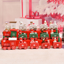 Рождественский поезд окрашенный дерево с Санта/медведь рождественские детские игрушки подарок орнамент navidad рождественские украшения для дома Новогодний подарок
