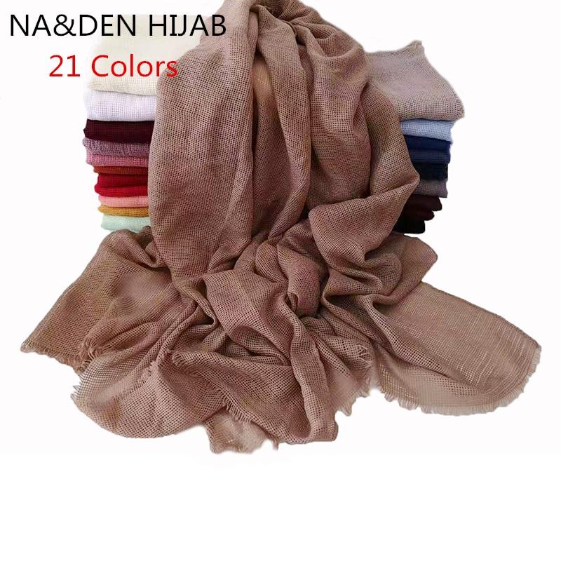 1PC Fashion Designer Spring Hollow Viscose&Cotton Scarf Women Solid Color Muslim Red Black Hijab Scarves Head Hair Scarf Shawls