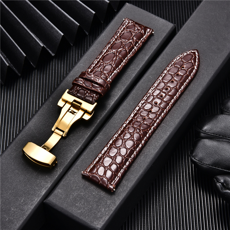 Crocodile Pattern Design Male Leather Watch Band with Stainless Steel Automatic Gold Buckle 18mm 20mm 22mm 24mm Watch Straps