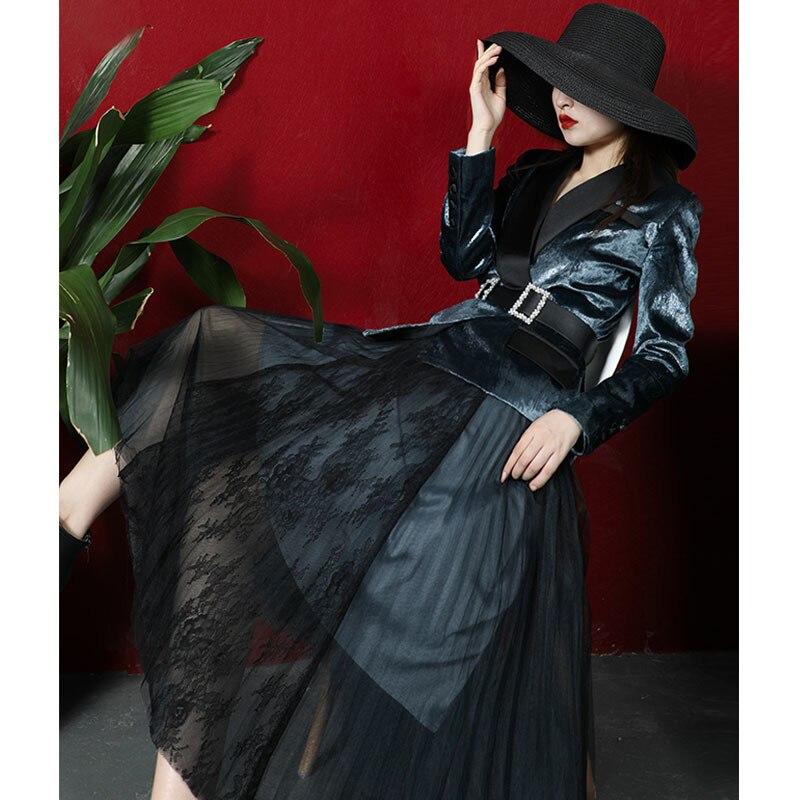 two piece set 2020 Autumn Winter Vintage 2 piece set women Gold Velvet Suit +Pleated Mesh Skirt Streetwear Office Lady blazer
