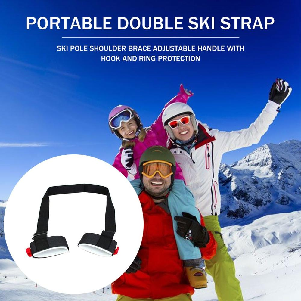 Skiing Pole Shoulder Hand Carrier Lash Adjustable Handle Straps Comfortable Hook Loop Protecting Black