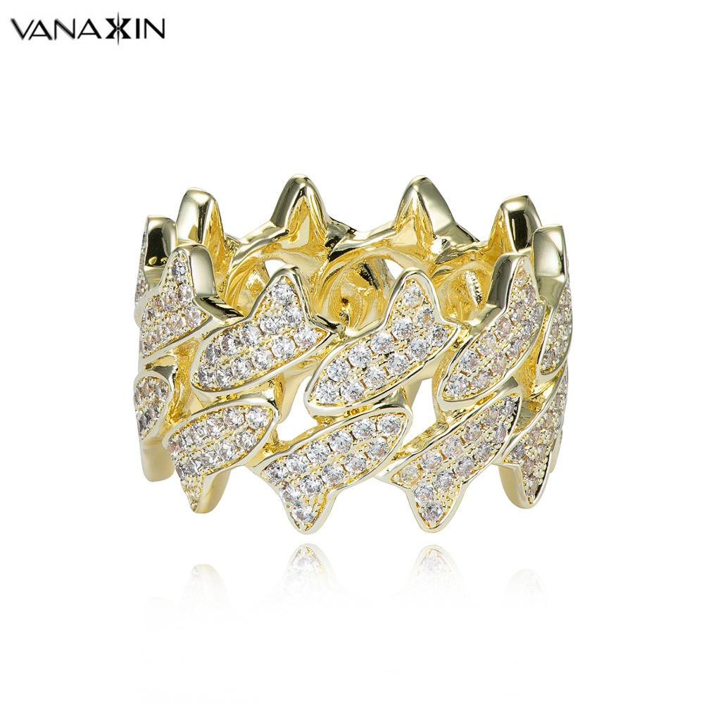 VANAXIN 925 argent jésus bandeau anneaux pour hommes CZ glacé Bling Bling anneau de haute qualité cadeau d'anniversaire croix boîte à bijoux