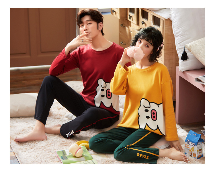 Autumn Couple Pajamas 2019 Men Pyjamas Suit Long Sleeve Pijama For Male Plus Size Sleep Clothing Cotton Casual Nightie Sleepwear