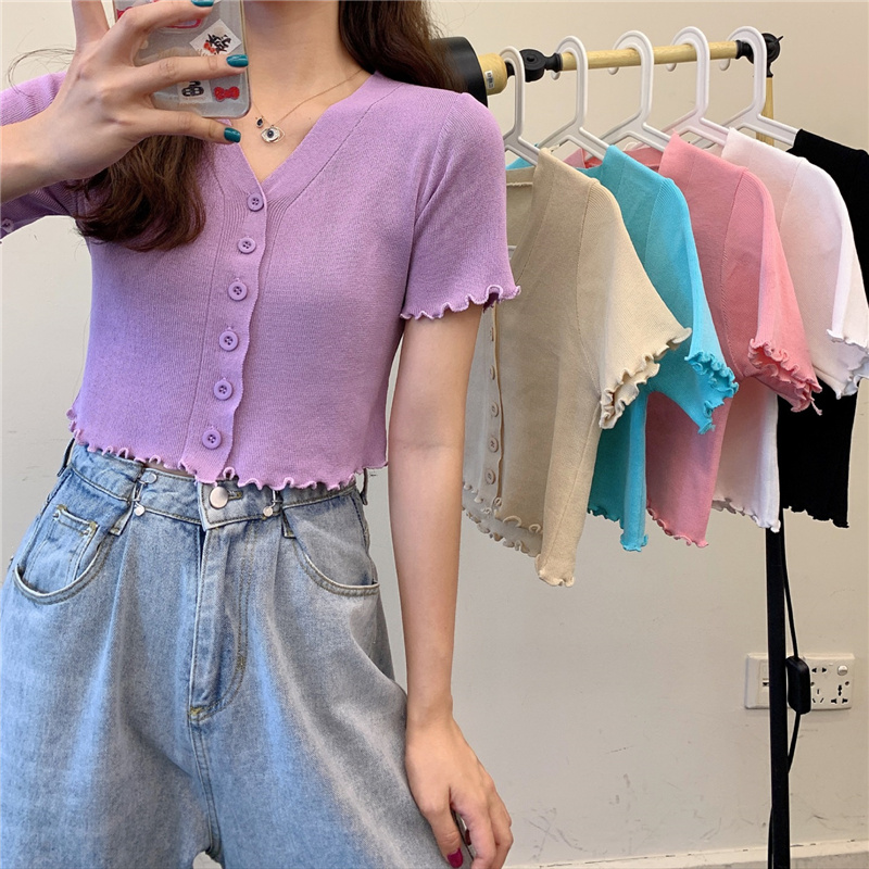 2020 Summer V-neck Short Sleeve Ruched Single-breasted Sweater Cardigan Girls Above Navel Length Knitted Cardigans Female