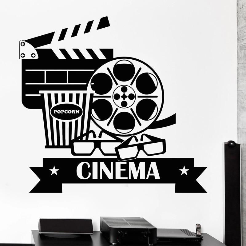 Film Wall Stickers Cinema Vinyl Decal Movie Camera Wall Decor Filming Sticker Screening Room Decoration Popcorn Glasses
