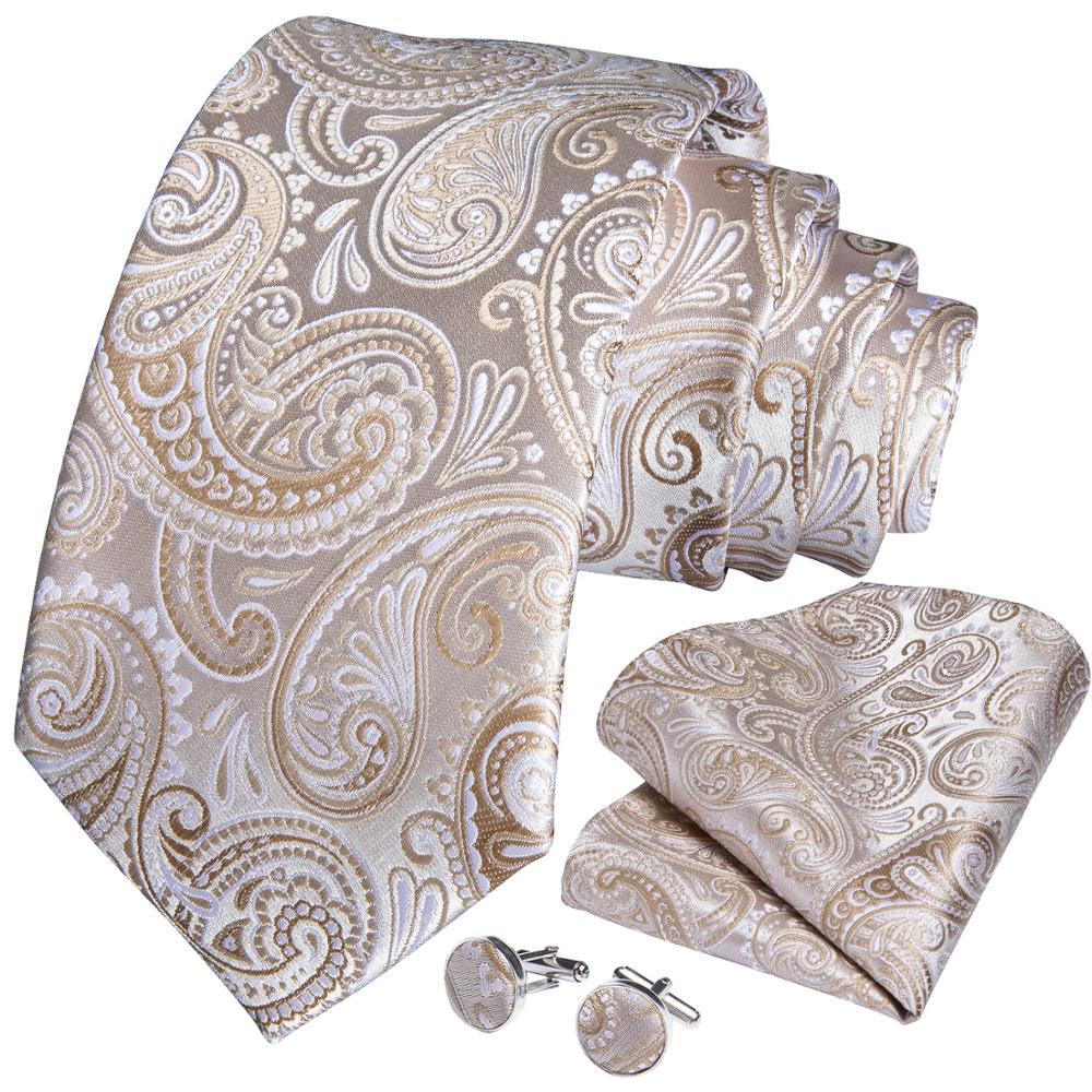 Wedding Men Tie Gold White Paisley Fashion Tie For Men Business Dropshipping DiBanGu Designer Hanky Cufflink Tie Set SJT-7248