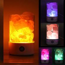 USB Charging Portable Fine Crystal Salt Lamp Himalayan Salt Lamp Night Light Purifying Air Natural Rock Bedroom