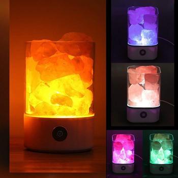 USB Charging Portable Fine Crystal Salt Lamp Himalayan Salt Lamp Night Light Purifying Air Natural Rock Bedroom