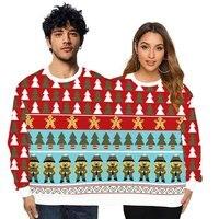Christmas Hoodies Women Men Digital Printing lovers dress round neck double Sweatshirts
