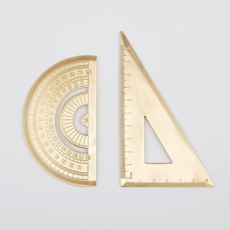 Golden Retro Triangle Ruler Semicircle Protractor 12cm Ruler Thickening 2.0mm Triangle Plate Drawing School Measurement Tools