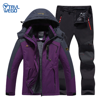 цена на TRVLWEGO Women Winter Skiing Suit Waterproof Fishing Thermal Fleece Pant Jackets Trekking Hiking Camping Climbing Outdoor Set