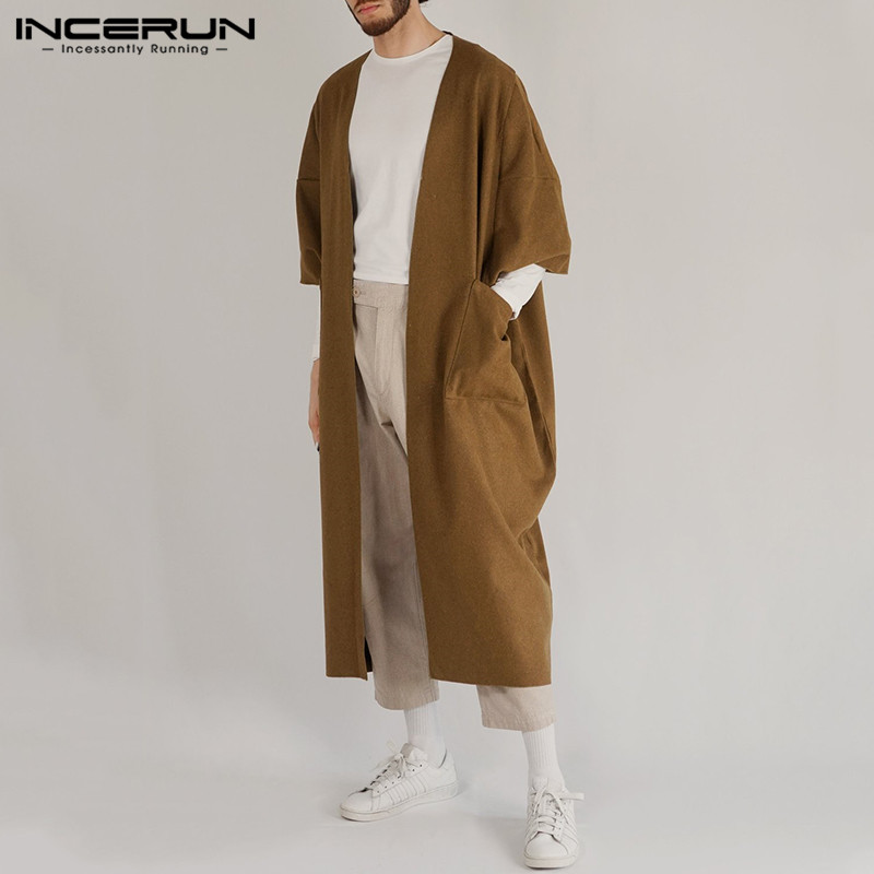 INCERUN Men Trench Coats Casual Pockets 3/4 Sleeve Faux Fleece Blends Jackets Men Outerwear Fashion Solid Longline Cardigan 2020