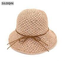 SILOQIN Summer Foldable Womens Sunscreen Hollow Bucket Hat Oversized Sun Visor Panama Ladies Cap Leisure Tourism Beach Sombrero