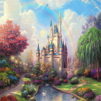 Rainbow Castle Jagsaw Puzzle  Large Educational Game 1000 Piece Holiday Landscape Pattern For Adults Kids Gift