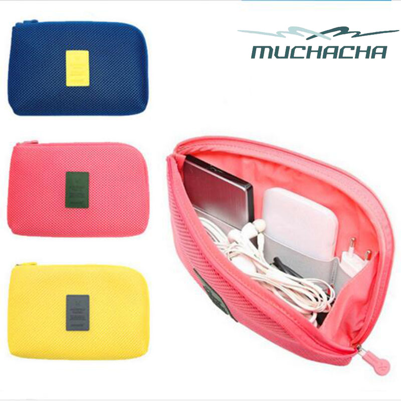 Dropship Travel Digital Accessories Storage Bag Mesh Cosmetic Zipper USB Cable Organizer Pouch Wallet
