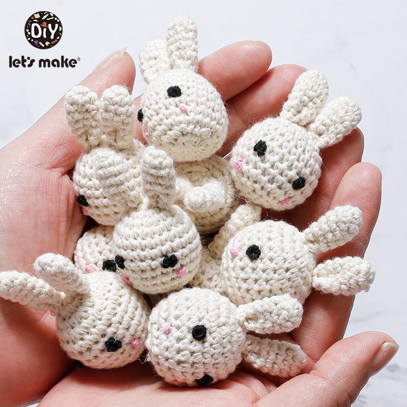 Let's Make 1pcs Baby Wooden Crochet Beads Cute Rabbit Panda Beads DIY Wooden Teething Knitting Jewelry Crib Baby Sensory Product