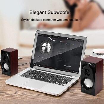Wooden Desktop Speakers 3.5mm AUX Input USB Power Computer Speakers for Laptop Desktop Phone Audio Loudspeaker 4
