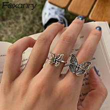 Foxanry 925 Sterling Silver Butterfly Rings for Women New Fashion Vintage Punk Fine Jewelry Birthday Party Accessories Gifts(China)