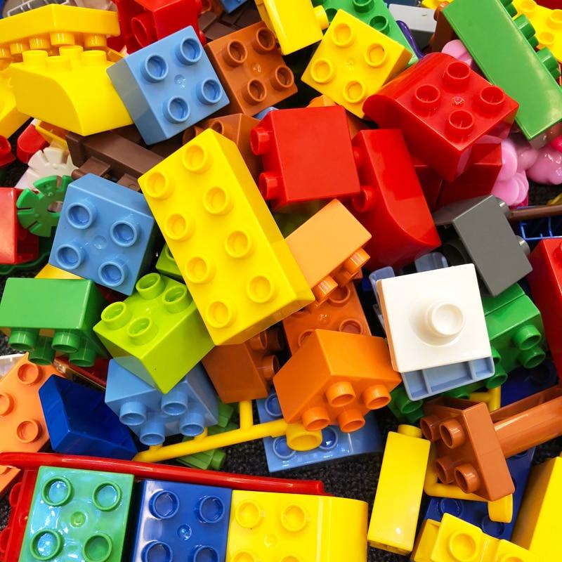 Красочные DIY строительные блоки большой Размеры кирпич оптом кирпичики пластины совместим с Duplo детские развивающие игрушки для детей