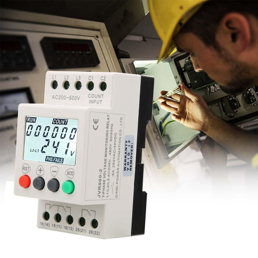 RD6-W Voltage Monitor Relay 3 Phase Voltage Sequence Protector with LCD Display for 35mm DIN Rail 208-480VAC