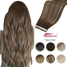 Moresoo Tape in Hair Extension Balayage Ombre Machine Remy Real Human Hair for Women Invisible Seamless PU Skin Weft Straight