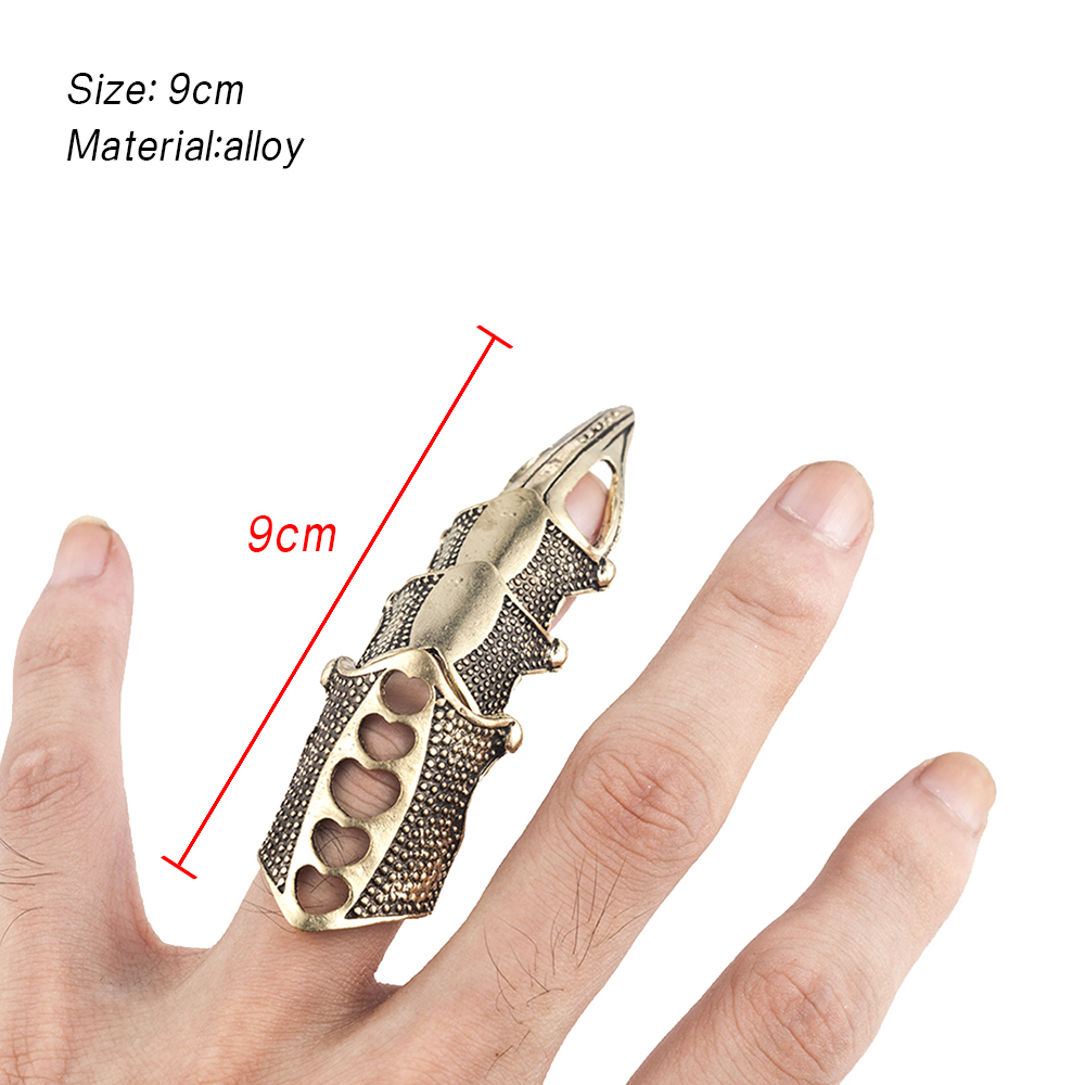 2020 NEW Cool Boys Punk Gothic Rock Scroll Joint Armor Knuckle Metal Full Finger Ring Gold Cospaly DIY Ring Halloween decoration 5