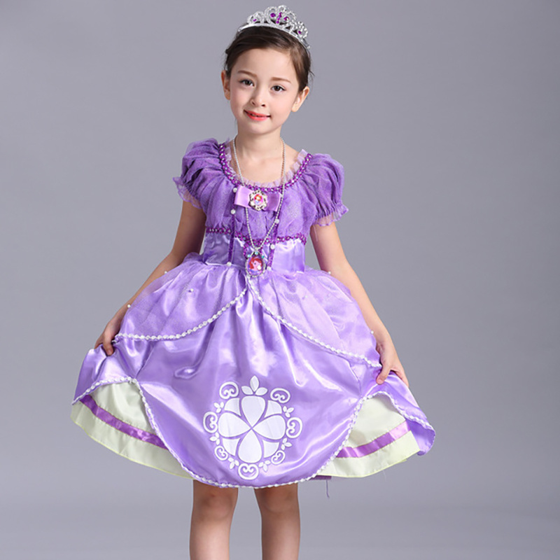 Halloween Dress Girls Clothing Sofia Cotton Short-sleeved Princess Dress Sequined Dress Cosplay Performance Dress Purple Costume