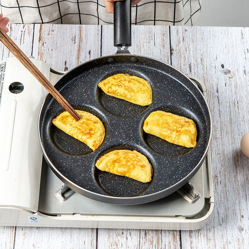 Four-Hole  Omelette Pot Eggs Ham Pancake Non-stick No Oil-smoke Frying Pans Mini Breakfast Cooking Pots Time-saving