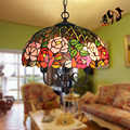 16inch Tiffany Flower Stained Glass Suspended Luminaire E27 110 240v Chain Pendant Lights For Home Parlor Dining Room luminaire