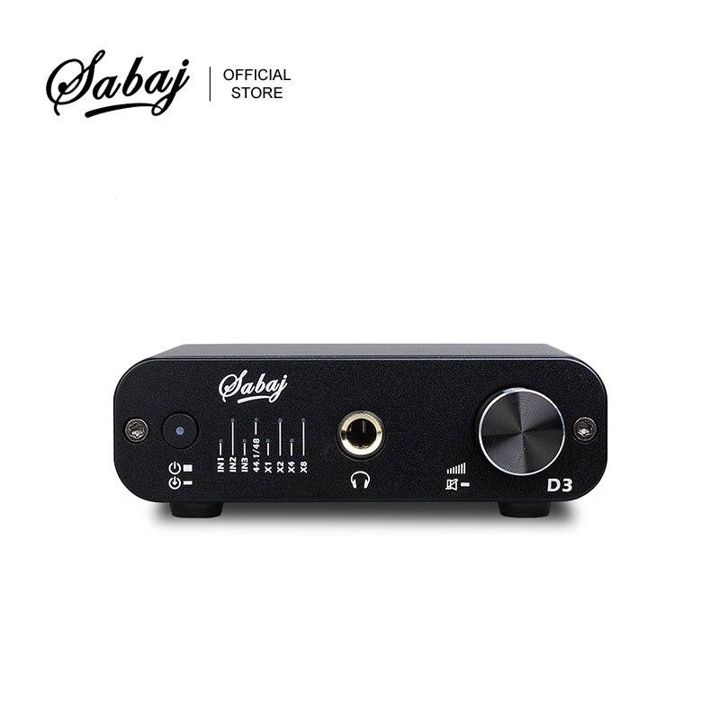 SABAJ D3 Audio DAC and Headphone Amplifier with 32bit/384kHz RCA 3.5mm Headphone Jack  Output USB Optical Coaxial Input Silver| | |  - title=