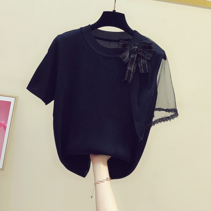 Short Sleeve T-shirt Women's Summer 2020 New Slim Style Bow Decoration Mesh Sleeve Shirt Ladies Jumper Thin Knit Tshirt Tops