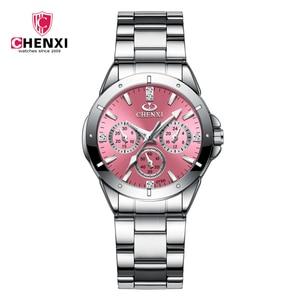 2020 CHENXI Brand Luxury Stainless Steel Women 's Watch Classic Fashion Business Watch Waterproof Quartz Movement Ladies Clock