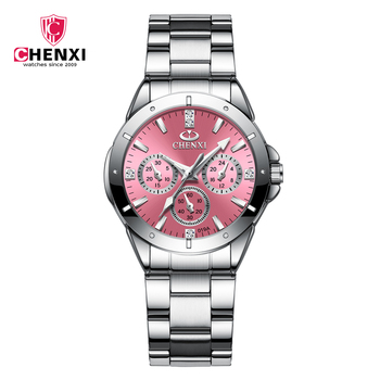 цена 2020 CHENXI Brand Luxury Stainless Steel Women 's Watch Classic Fashion Business Watch Waterproof Quartz Movement Ladies Clock онлайн в 2017 году