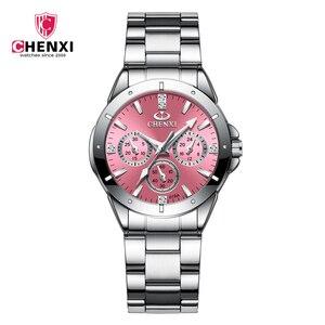Image 1 - CHENXI montre en acier inoxydable pour femmes, montre de luxe, classique, tendance daffaires, étanche, mouvement à Quartz, horloge, collection 2020