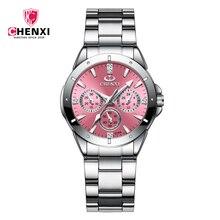 Chenxi relógio de pulso clássico de aço inoxidável, para mulheres, negócios, à prova dágua, movimento de quartzo, 2020