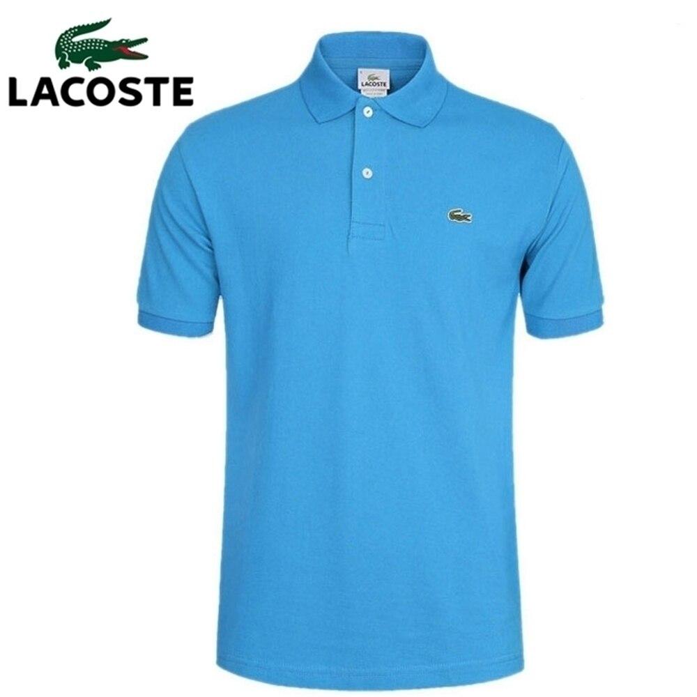 Рубашка-поло мужская с коротким рукавом, хлопок, дышащая, однотонная, лето 1
