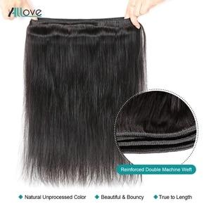 Image 3 - Allove brezilyalı düz saç demetleri ile Frontal kapatma ile 100% insan saç demetleri olmayan Remy saç 3 demetleri ile kapatma