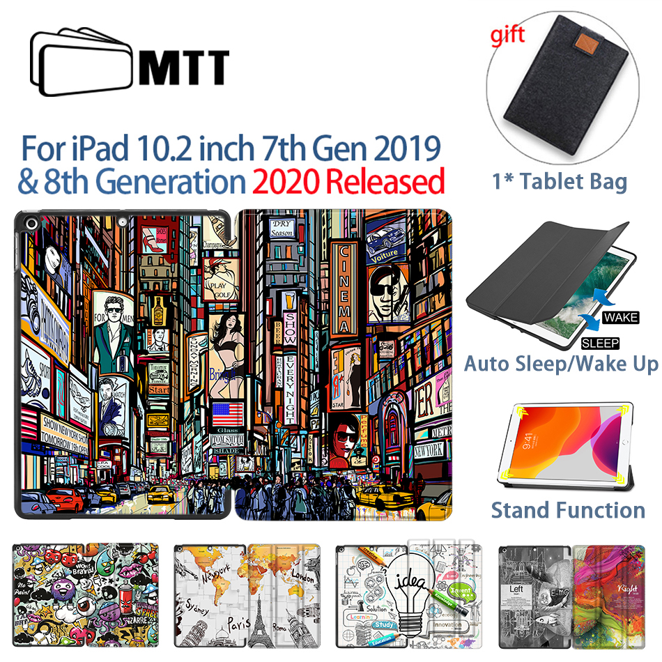 MTT Tablet Case For iPad 10 2 inch 7th 8th Generation 2019 PU Leather Flip Stand