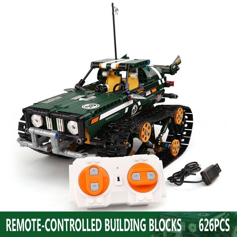 Функция питания от двигателя, Радиоуправляемый гусеничный гонщик, электрический, подходит для автомобиля, Legoing, 42065 скоростной автомобиль, строительный блок, кирпичи, модель, подарок для детей - Цвет: 13026-626pcs